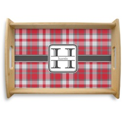 Red & Gray Plaid Natural Wooden Tray (Personalized)