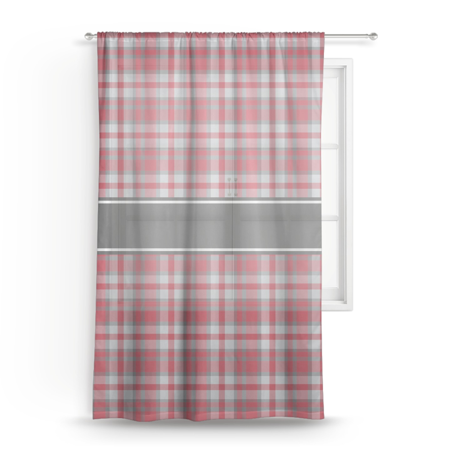 Red Gray Plaid Sheer Curtains Personalized Youcustomizeit