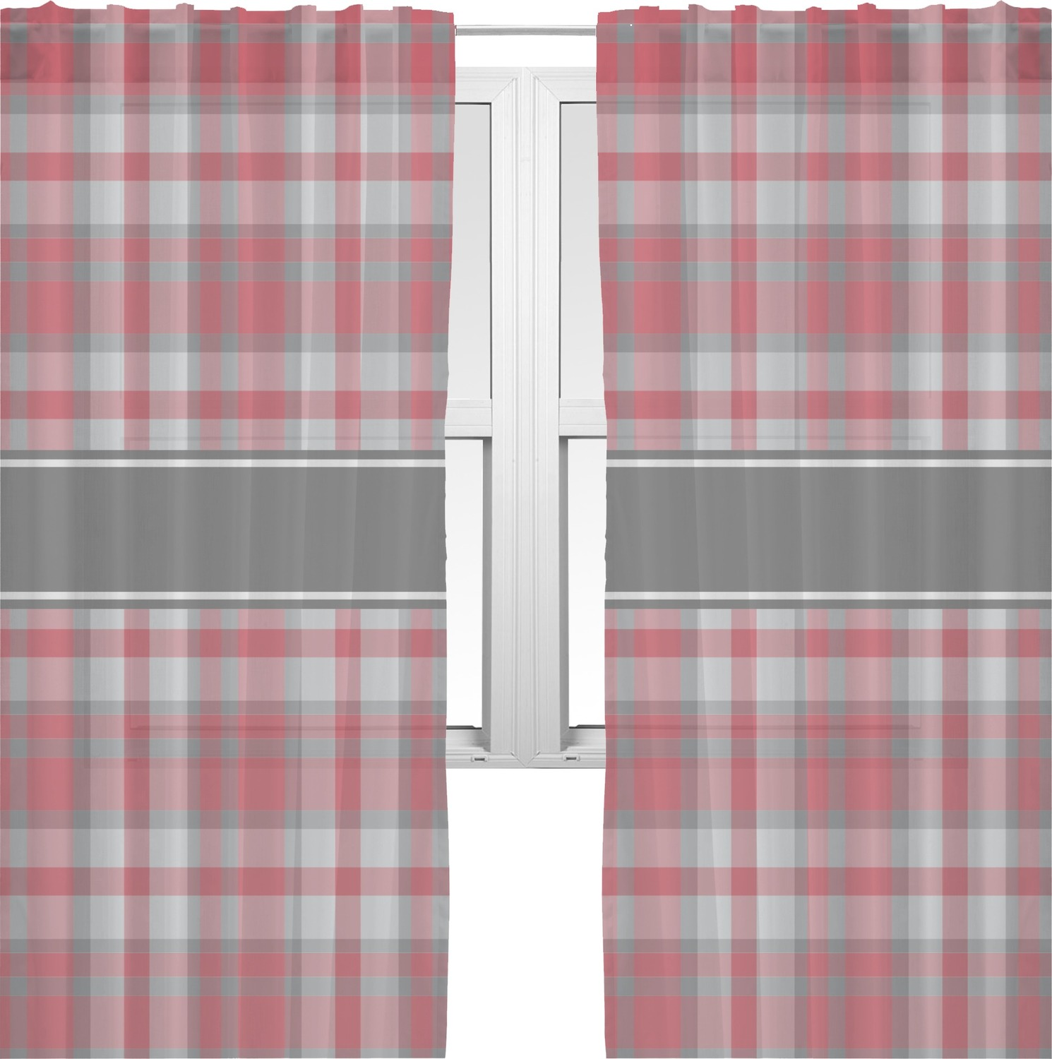Red plaid curtains - Red Gray Plaid Sheer Curtains Personalized