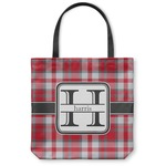 Red & Gray Plaid Canvas Tote Bag (Personalized)