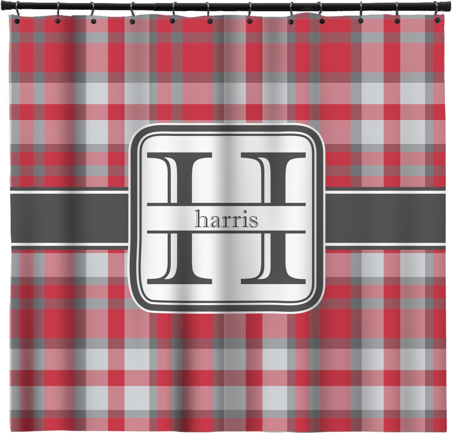 Red Gray Plaid Shower Curtain Personalized