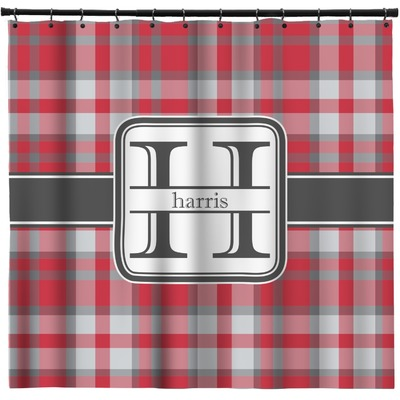 Red & Gray Plaid Shower Curtain (Personalized)