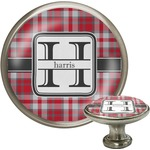 Red & Gray Plaid Cabinet Knob (Silver) (Personalized)