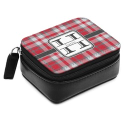 Red & Gray Plaid Small Leatherette Travel Pill Case (Personalized)