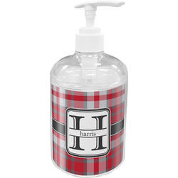 Red & Gray Plaid Soap / Lotion Dispenser (Personalized)