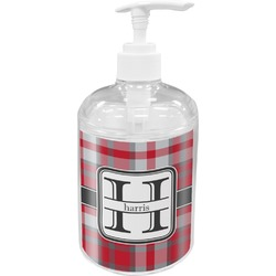 Red & Gray Plaid Acrylic Soap & Lotion Bottle (Personalized)