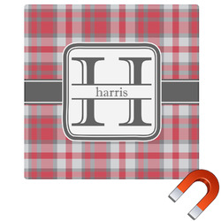 """Red & Gray Plaid Square Car Magnet - 6"""" (Personalized)"""