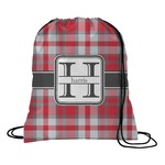 Red & Gray Plaid Drawstring Backpack (Personalized)