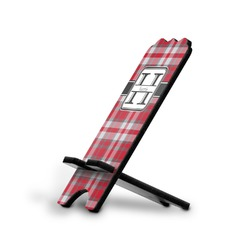 Red & Gray Plaid Stylized Phone Stand (Personalized)