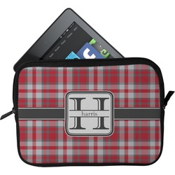 Red & Gray Plaid Tablet Case / Sleeve (Personalized)