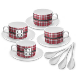 Red & Gray Plaid Tea Cup - Set of 4 (Personalized)