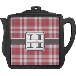 Red & Gray Plaid Teapot Trivet (Personalized)