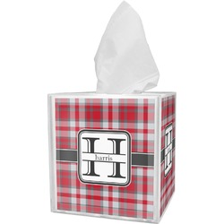 Red & Gray Plaid Tissue Box Cover (Personalized)