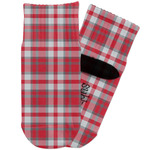 Red & Gray Plaid Toddler Ankle Socks (Personalized)