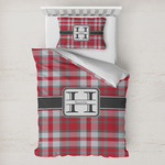 Red & Gray Plaid Toddler Bedding w/ Name and Initial