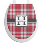 Red & Gray Plaid Toilet Seat Decal (Personalized)