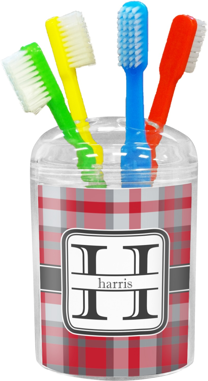 Red Gray Plaid Toothbrush Holder