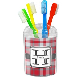 Red & Gray Plaid Toothbrush Holder (Personalized)