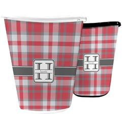 Red & Gray Plaid Waste Basket (Personalized)