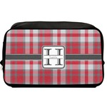 Red & Gray Plaid Toiletry Bag / Dopp Kit (Personalized)