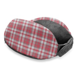 Red & Gray Plaid Travel Neck Pillow (Personalized)