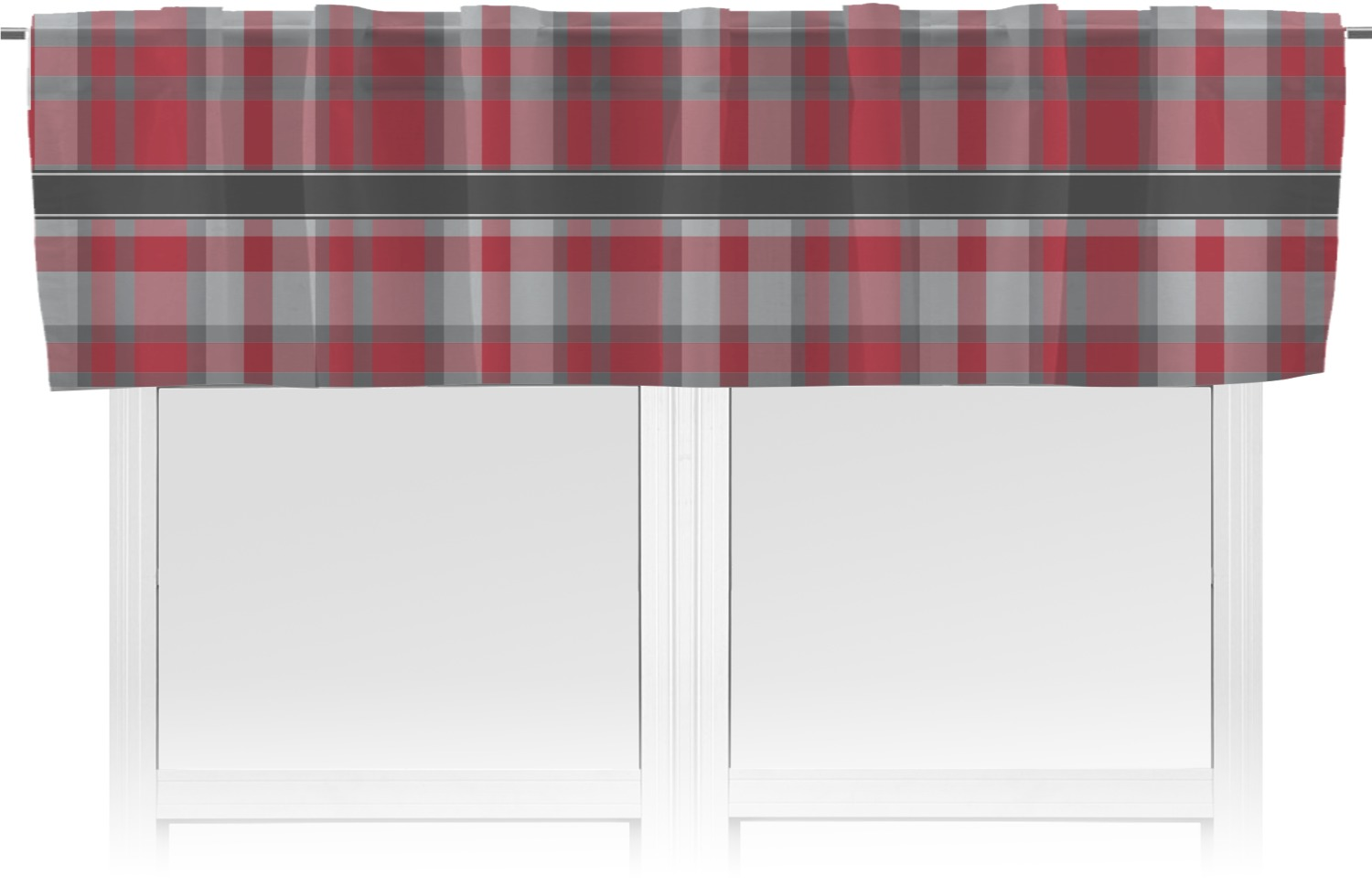 surprising Red And Grey Valance Part - 2: Red u0026 Gray Plaid Valance (Personalized)