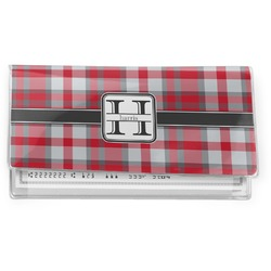 Red & Gray Plaid Vinyl Check Book Cover (Personalized)