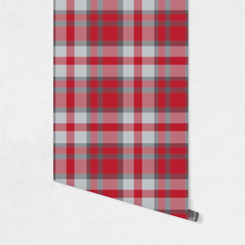 Red gray plaid wallpaper surface covering peel for Grey tartan wallpaper