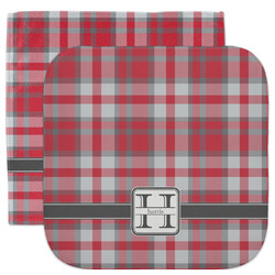 Red & Gray Plaid Facecloth / Wash Cloth (Personalized)