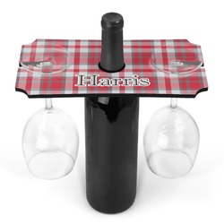 Red & Gray Plaid Wine Bottle & Glass Holder (Personalized)