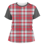 Red & Gray Plaid Women's Crew T-Shirt (Personalized)