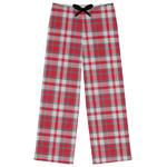 Red & Gray Plaid Womens Pajama Pants (Personalized)