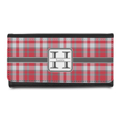 Red & Gray Plaid Leatherette Ladies Wallet (Personalized)