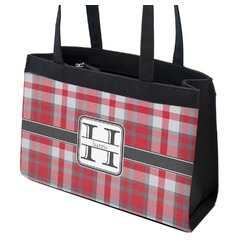 Red & Gray Plaid Zippered Everyday Tote (Personalized)