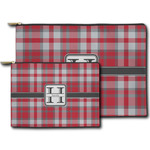 Red & Gray Plaid Zipper Pouch (Personalized)
