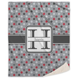 Red & Gray Polka Dots Sherpa Throw Blanket (Personalized)