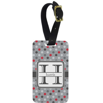 Red & Gray Polka Dots Metal Luggage Tag w/ Name and Initial