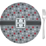 """Red & Gray Polka Dots Glass Appetizer / Dessert Plates 8"""" - Single or Set (Personalized)"""
