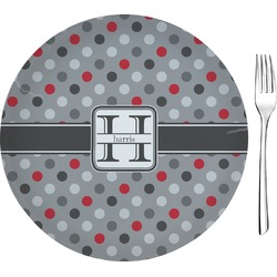 Red & Gray Polka Dots Appetizer / Dessert Plate (8