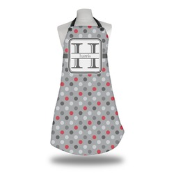 Red & Gray Polka Dots Apron (Personalized)