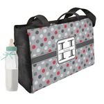 Red & Gray Polka Dots Diaper Bag w/ Name and Initial