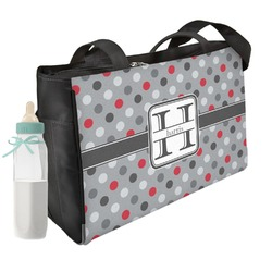 Red & Gray Polka Dots Diaper Bag (Personalized)