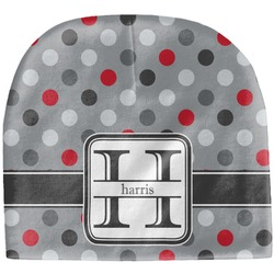 Red & Gray Polka Dots Baby Hat (Beanie) (Personalized)
