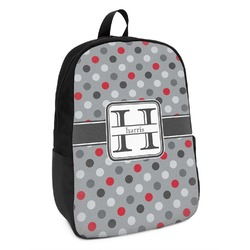 Red & Gray Polka Dots Kids Backpack (Personalized)