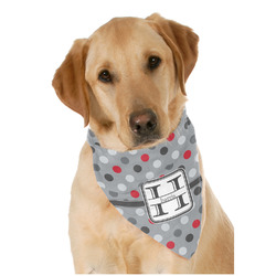 Red & Gray Polka Dots Dog Bandana Scarf w/ Name and Initial