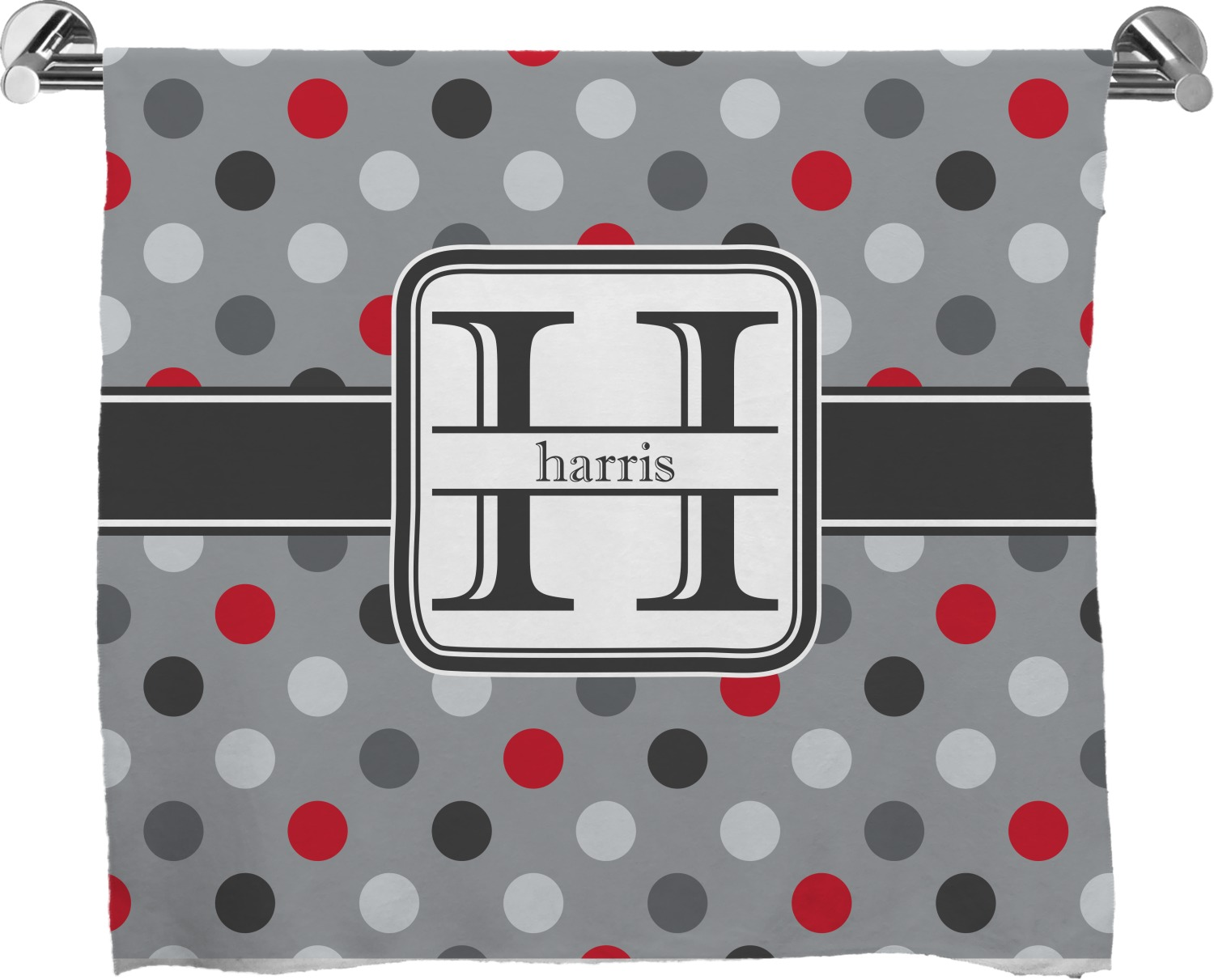 Red Gray Polka Dots Full Print Bath Towel Personalized