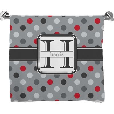 Red & Gray Polka Dots Full Print Bath Towel (Personalized)