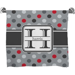 Red & Gray Polka Dots Full Print Bath Towel (Personalized)