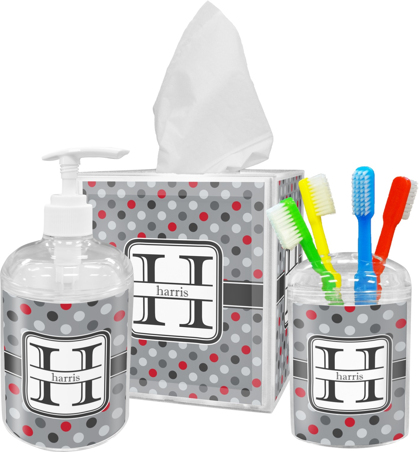Red U0026 Gray Polka Dots Bathroom Accessories Set (Personalized)