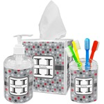 Red & Gray Polka Dots Acrylic Bathroom Accessories Set w/ Name and Initial